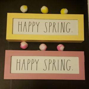"""""""Happy Spring"""" sign by Rae Dunn. Yellow or Pink"""